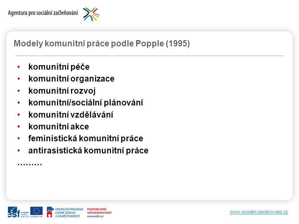 Modely komunitní práce podle Popple (1995)