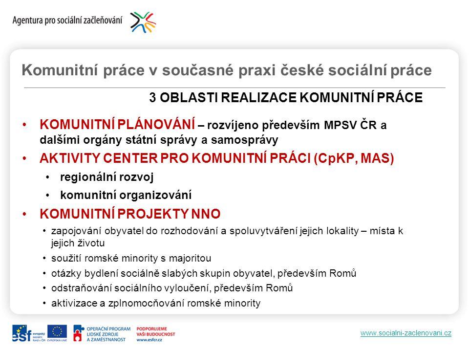 Komunitní práce v současné praxi české sociální práce