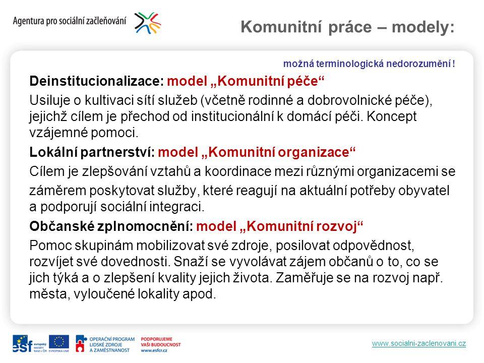 Komunitní práce – modely: