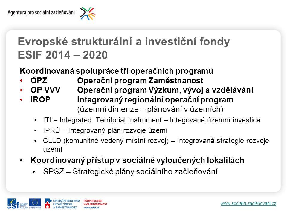 Evropské strukturální a investiční fondy ESIF 2014 – 2020