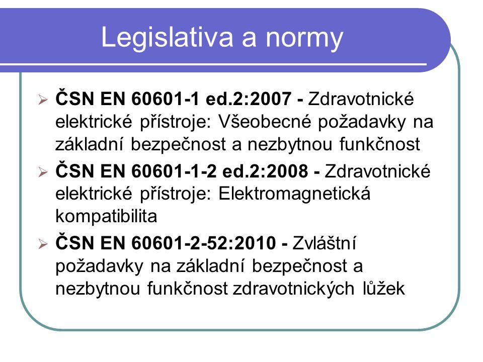 Legislativa a normy ČSN EN 60601-1 ed.2:2007 - Zdravotnické elektrické přístroje: Všeobecné požadavky na základní bezpečnost a nezbytnou funkčnost.