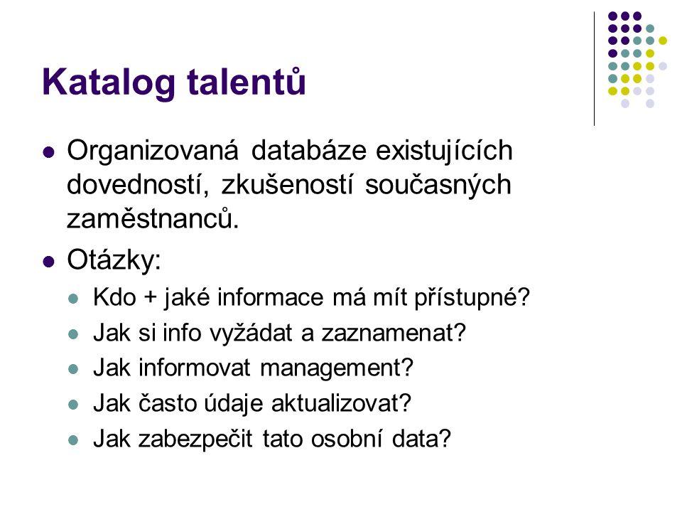 Katalog talentů Organizovaná databáze existujících dovedností, zkušeností současných zaměstnanců. Otázky: