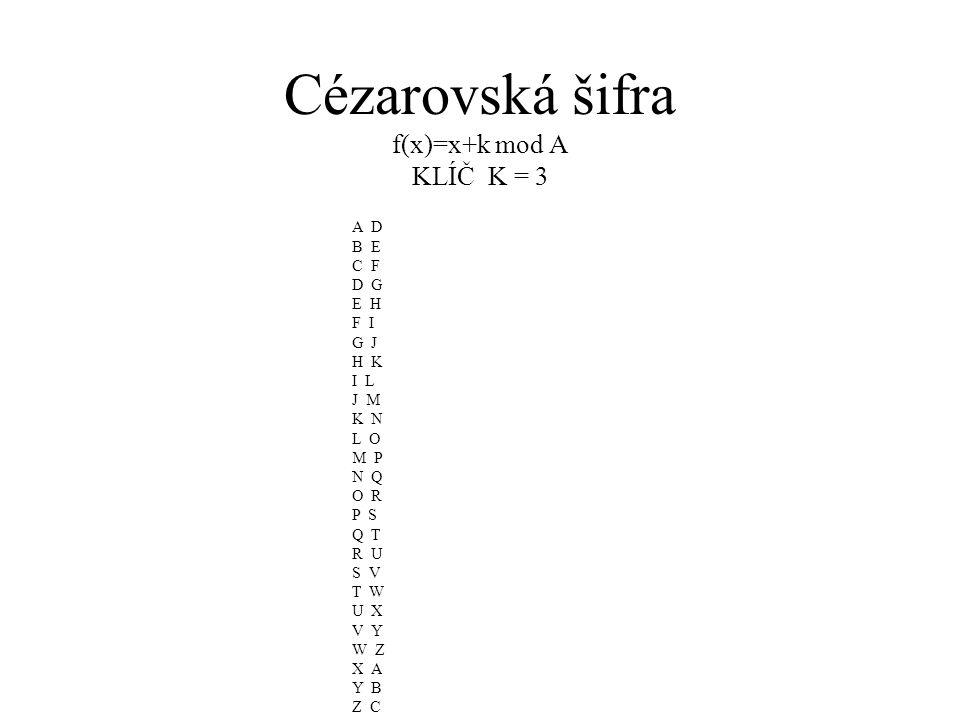 Cézarovská šifra f(x)=x+k mod A KLÍČ K = 3