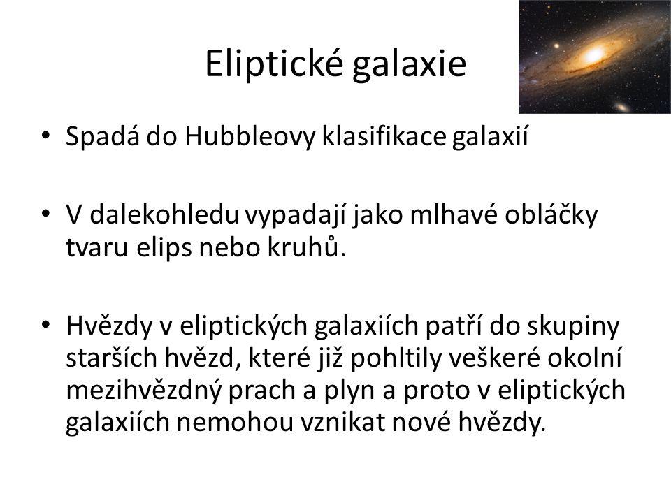Eliptické galaxie Spadá do Hubbleovy klasifikace galaxií
