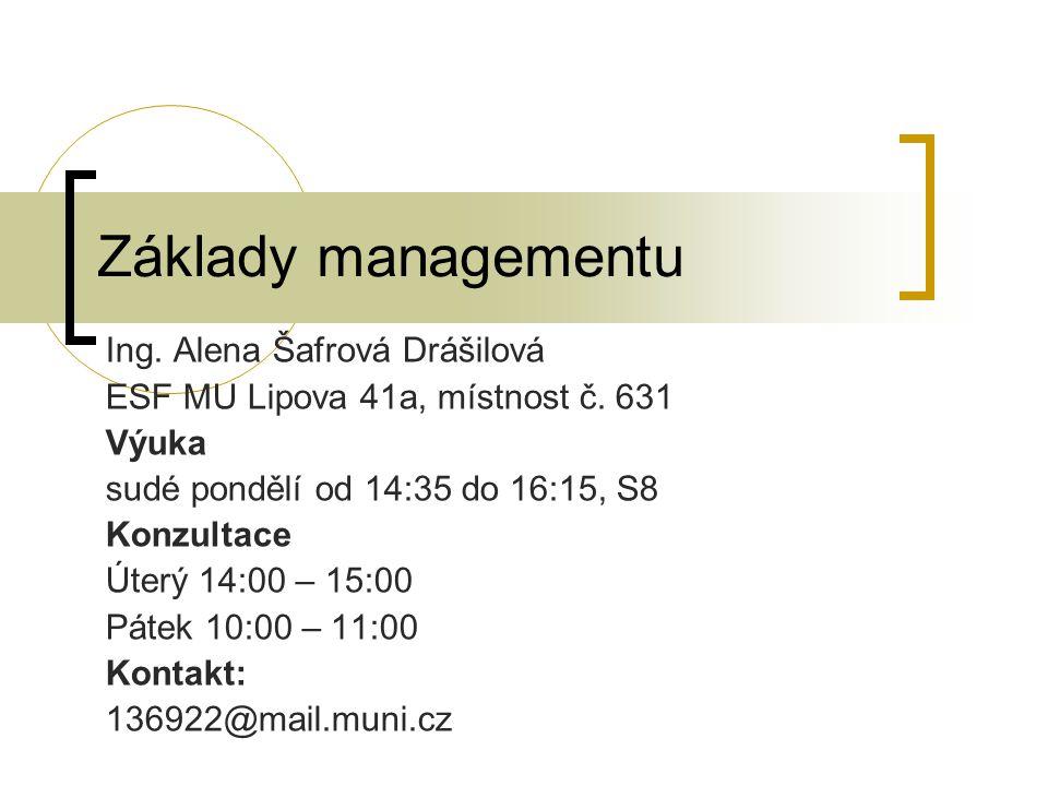 Základy managementu Ing. Alena Šafrová Drášilová