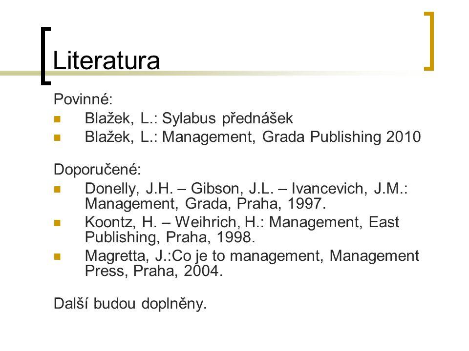 Literatura Povinné: Blažek, L.: Sylabus přednášek
