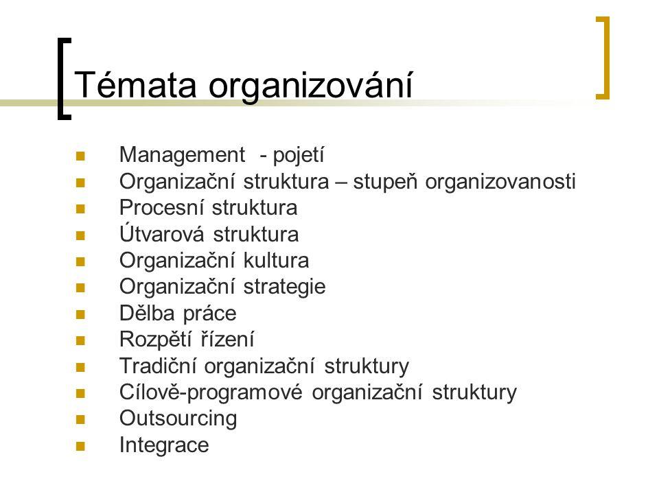 Témata organizování Management - pojetí