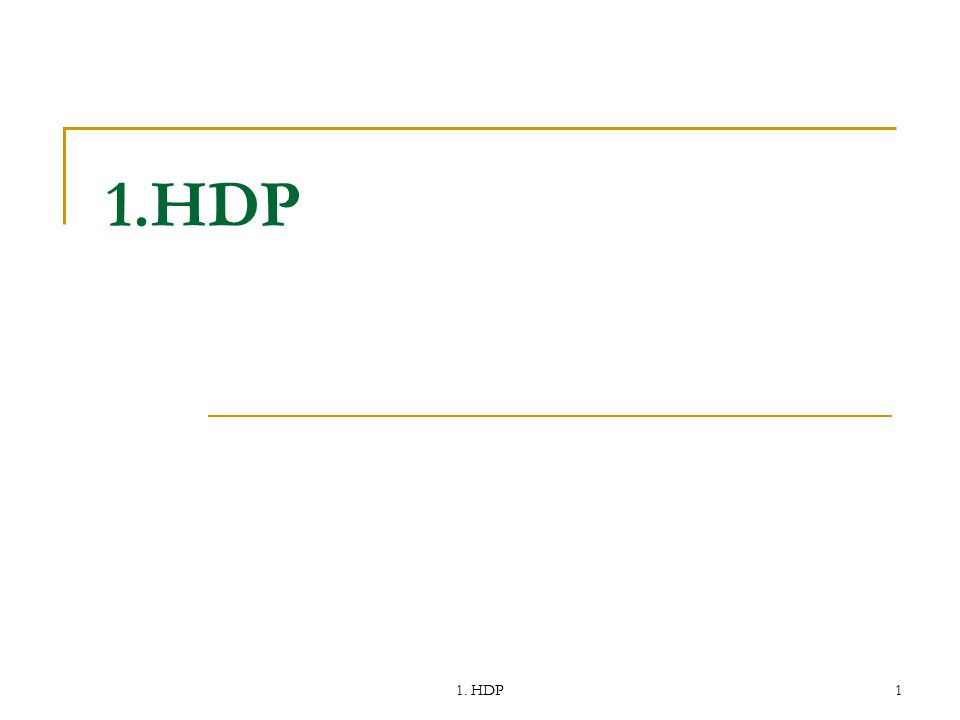 1.HDP 1. HDP