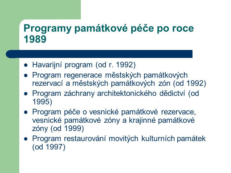 Programy památkové péče po roce 1989