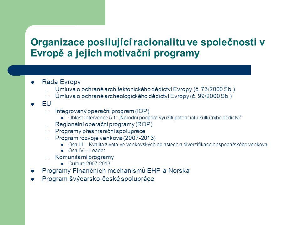 Organizace posilující racionalitu ve společnosti v Evropě a jejich motivační programy