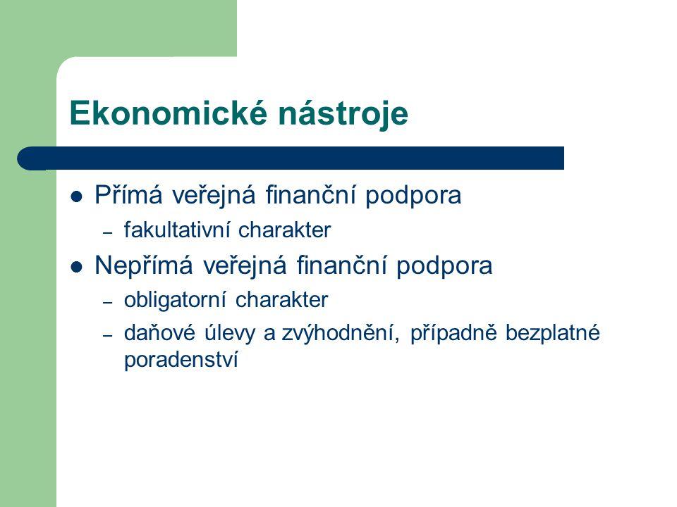 Ekonomické nástroje Přímá veřejná finanční podpora