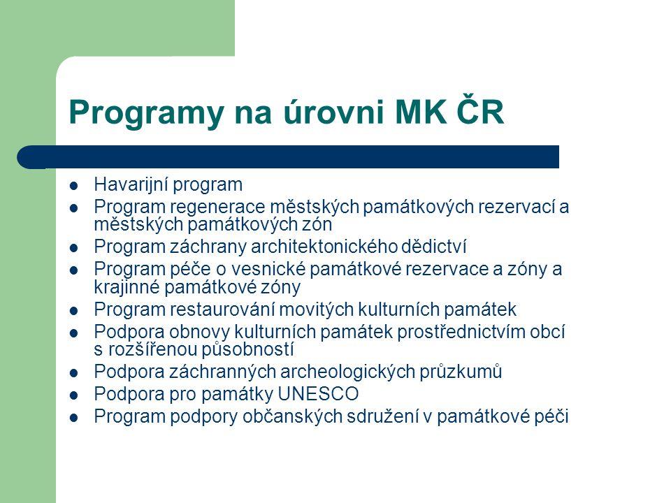 Programy na úrovni MK ČR
