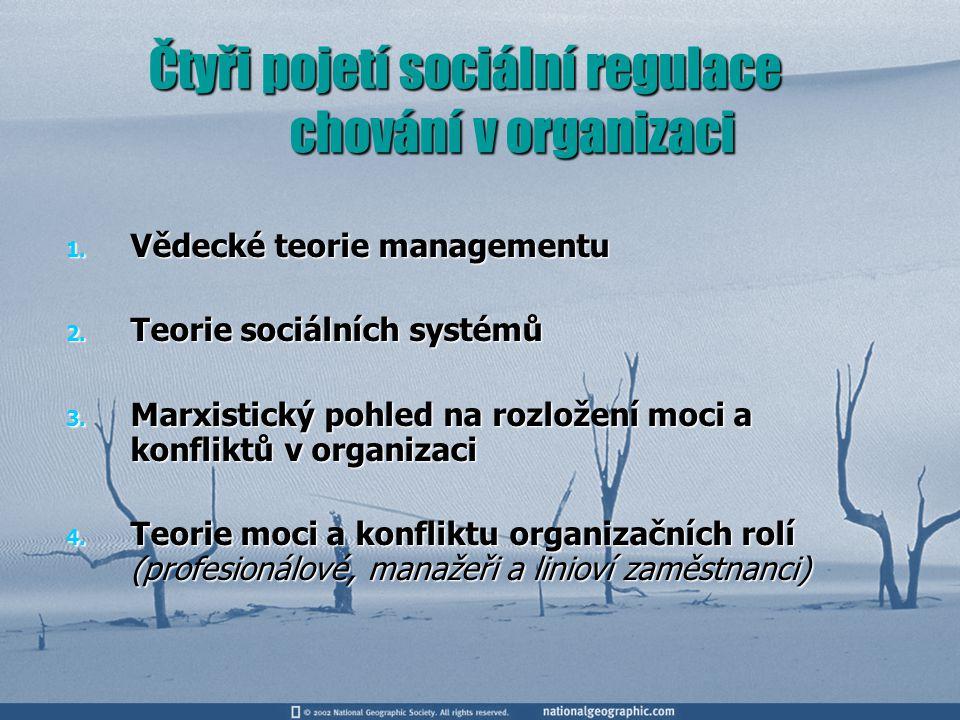 Čtyři pojetí sociální regulace chování v organizaci