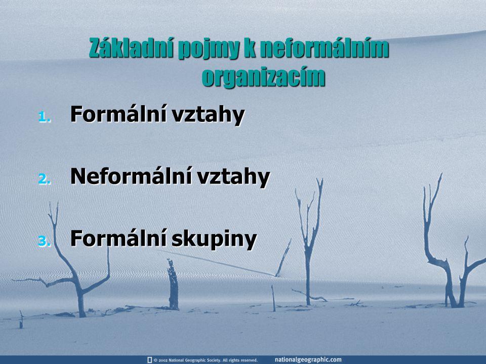 Základní pojmy k neformálním organizacím