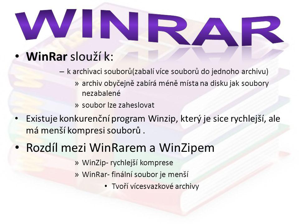 WinRar WinRar slouží k: Rozdíl mezi WinRarem a WinZipem