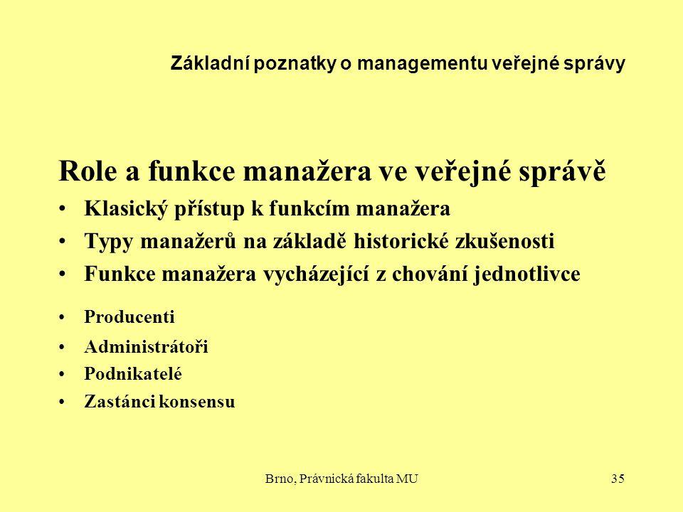 Základní poznatky o managementu veřejné správy