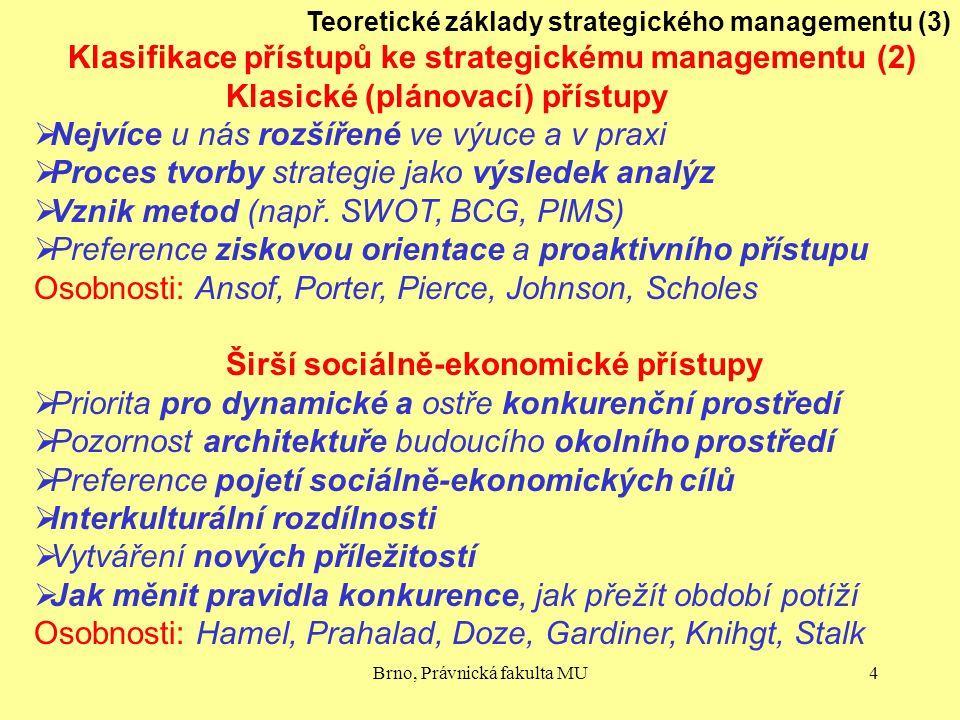 Klasifikace přístupů ke strategickému managementu (2)