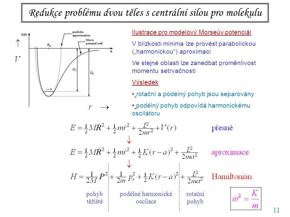 Redukce problému dvou těles s centrální silou pro molekulu