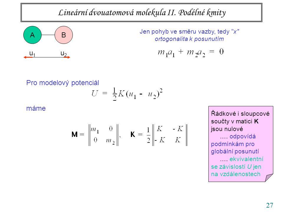 Lineární dvouatomová molekula II. Podélné kmity