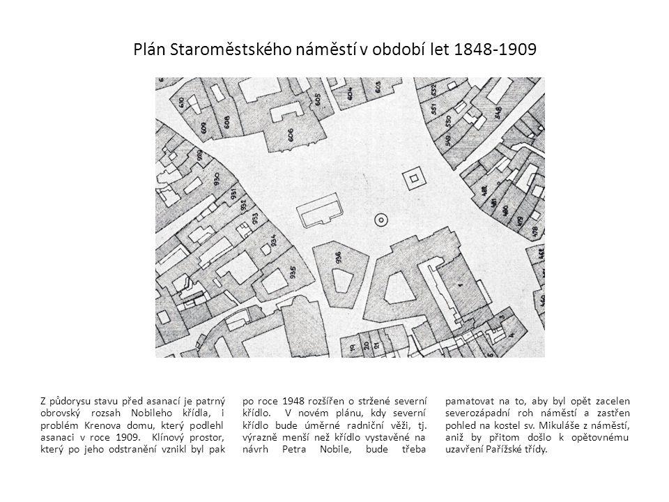 Plán Staroměstského náměstí v období let 1848-1909