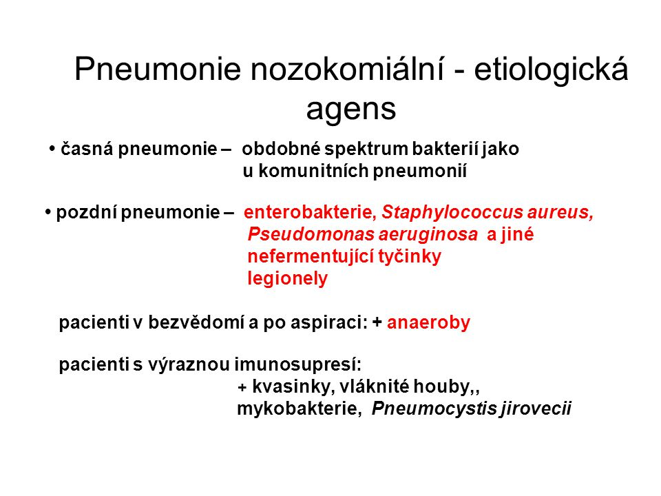 Pneumonie nozokomiální - etiologická agens