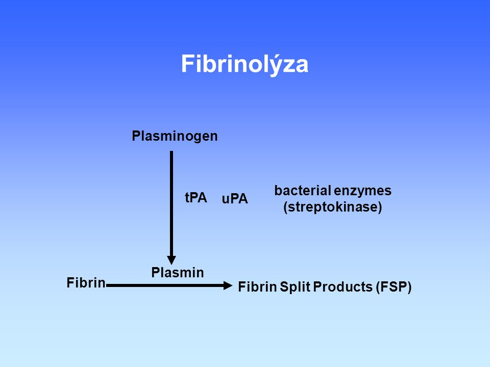 Fibrinolýza Plasminogen bacterial enzymes (streptokinase) tPA uPA