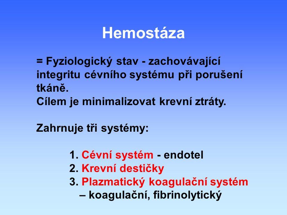 Hemostáza = Fyziologický stav - zachovávající integritu cévního systému při porušení tkáně. Cílem je minimalizovat krevní ztráty.