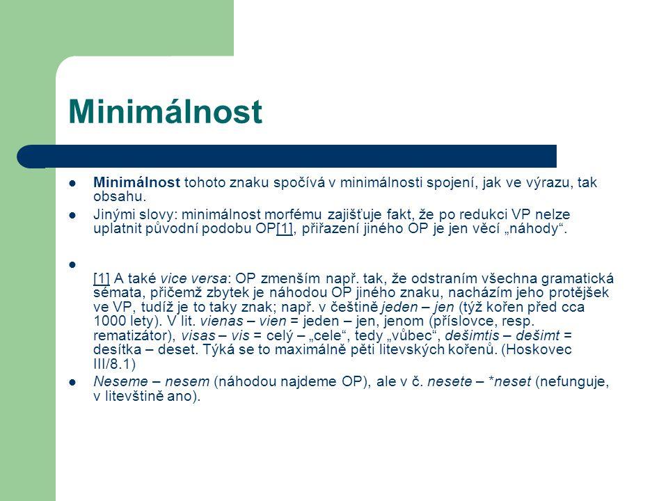 Minimálnost Minimálnost tohoto znaku spočívá v minimálnosti spojení, jak ve výrazu, tak obsahu.