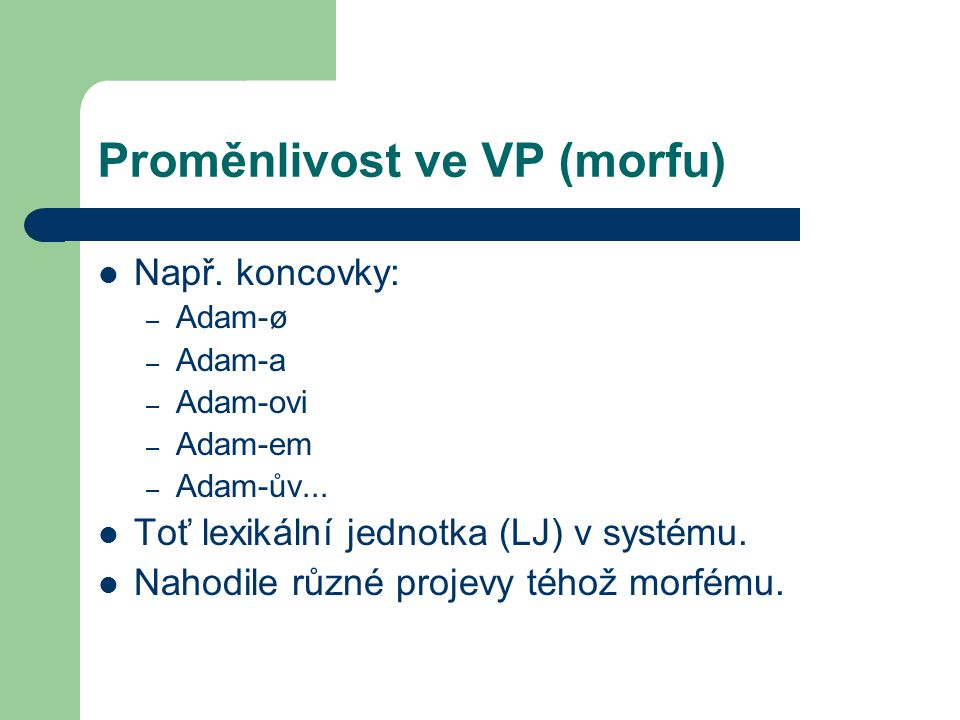 Proměnlivost ve VP (morfu)