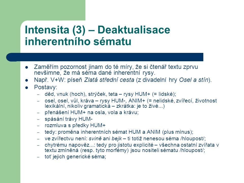 Intensita (3) – Deaktualisace inherentního sématu