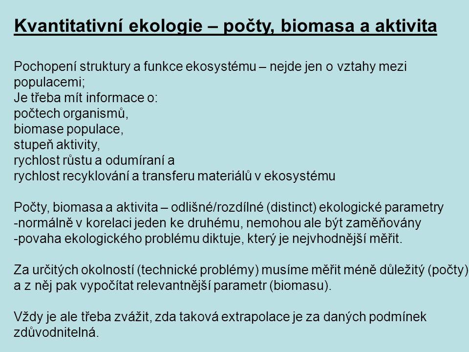 Kvantitativní ekologie – počty, biomasa a aktivita