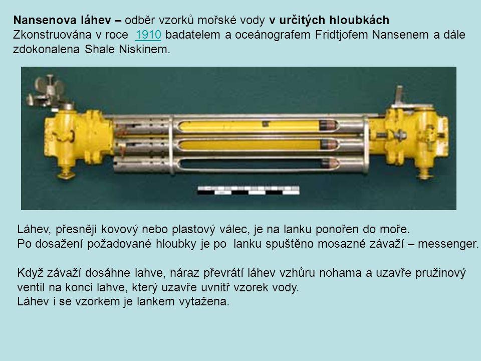 Nansenova láhev – odběr vzorků mořské vody v určitých hloubkách