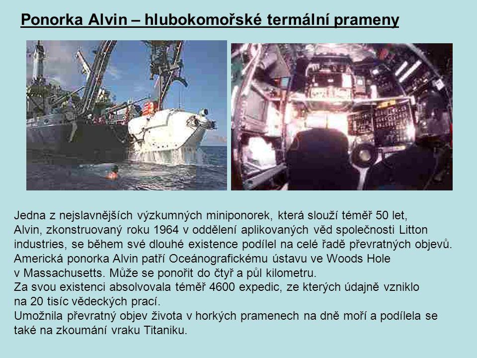 Ponorka Alvin – hlubokomořské termální prameny