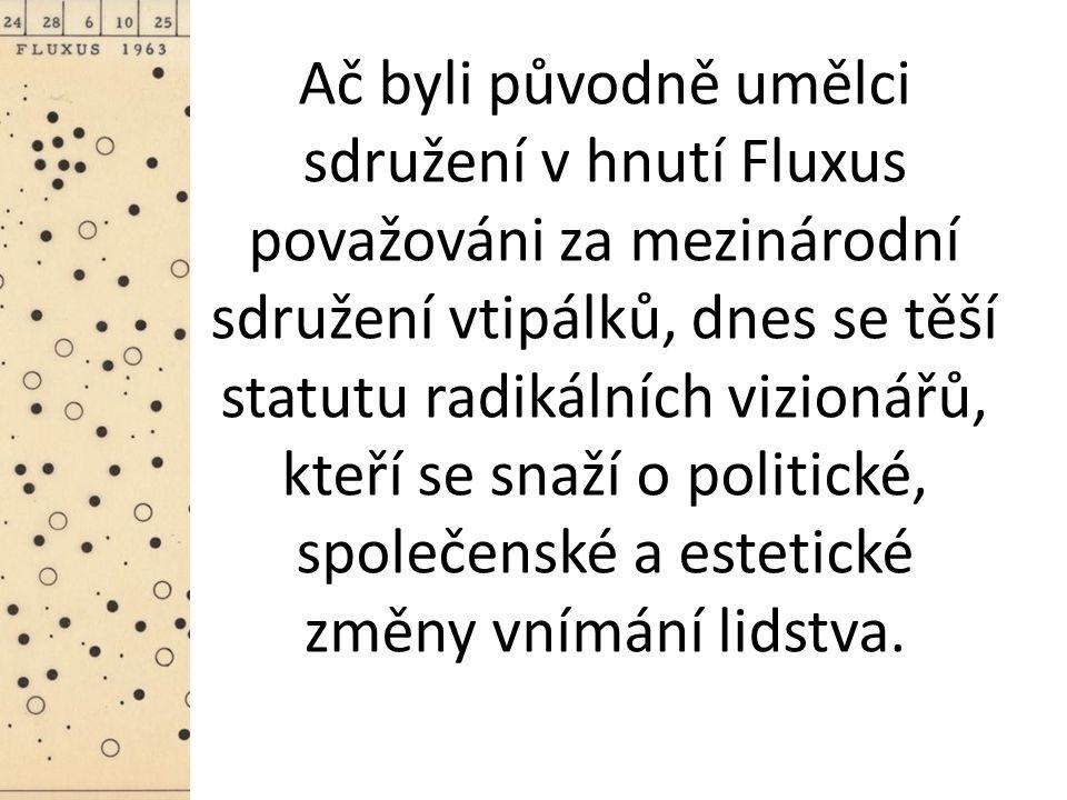 Ač byli původně umělci sdružení v hnutí Fluxus považováni za mezinárodní sdružení vtipálků, dnes se těší statutu radikálních vizionářů, kteří se snaží o politické, společenské a estetické změny vnímání lidstva.