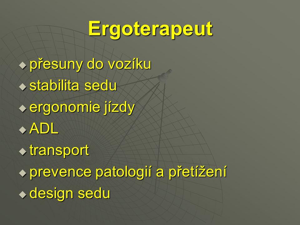 Ergoterapeut přesuny do vozíku stabilita sedu ergonomie jízdy ADL