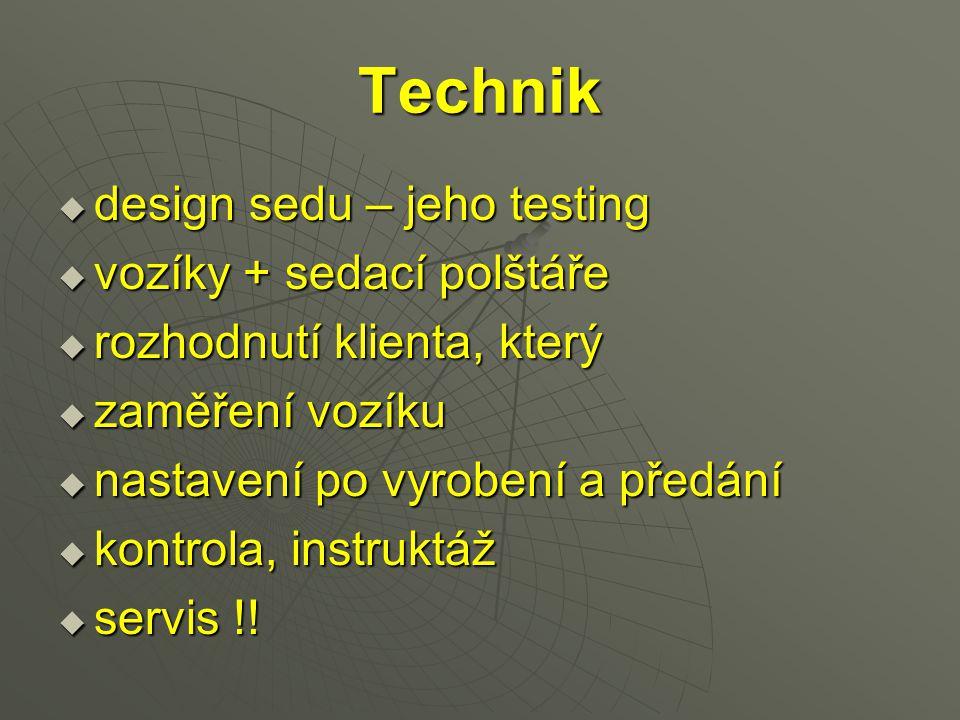 Technik design sedu – jeho testing vozíky + sedací polštáře