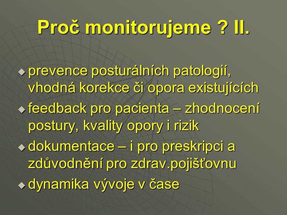 Proč monitorujeme II. prevence posturálních patologií, vhodná korekce či opora existujících.