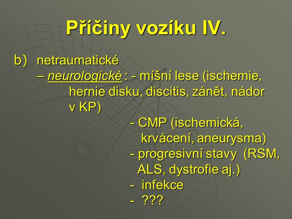 Příčiny vozíku IV. – neurologické : - míšní lese (ischemie,
