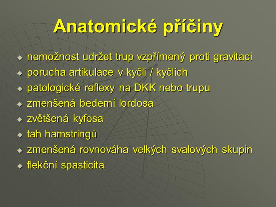 Anatomické příčiny nemožnost udržet trup vzpřímený proti gravitaci