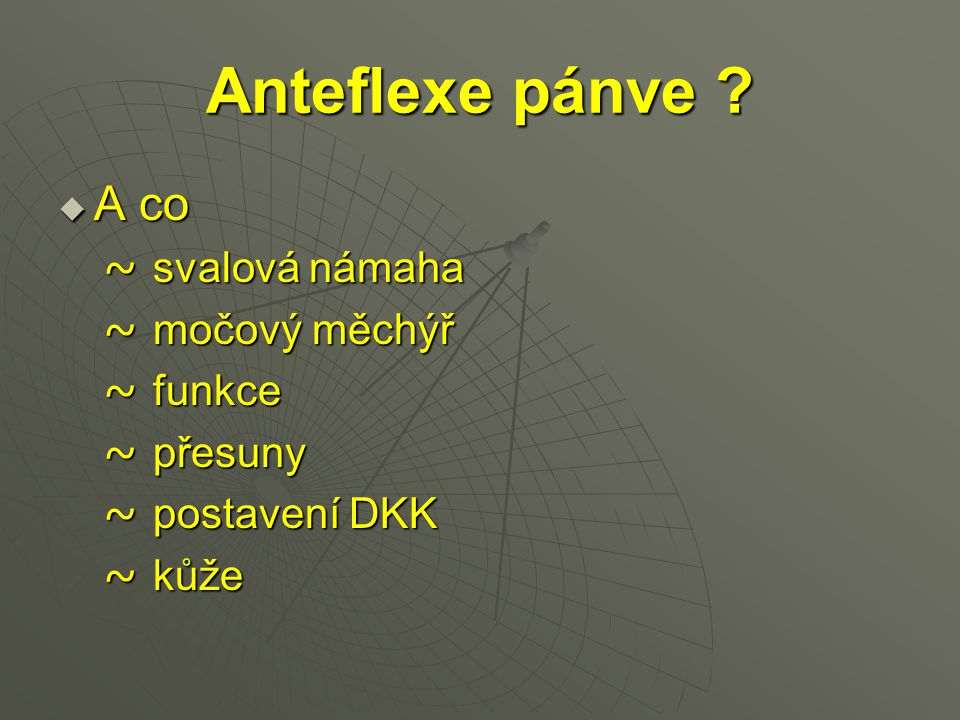 Anteflexe pánve A co ~ svalová námaha ~ močový měchýř ~ funkce