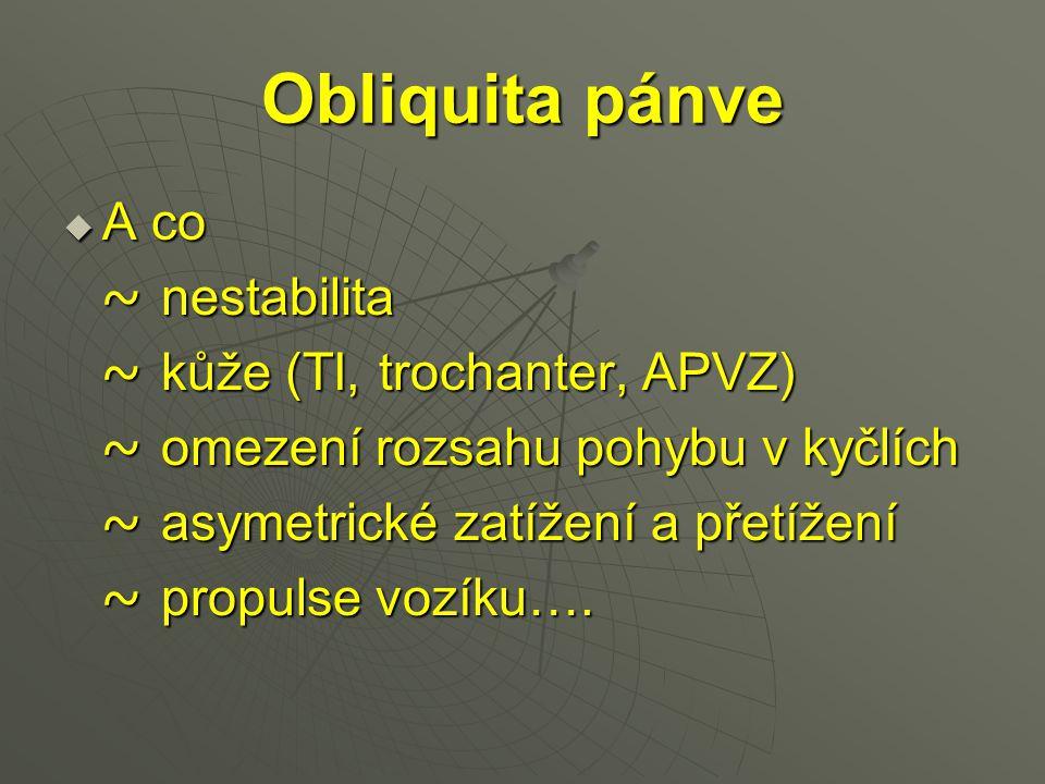 Obliquita pánve A co ~ nestabilita ~ kůže (TI, trochanter, APVZ)