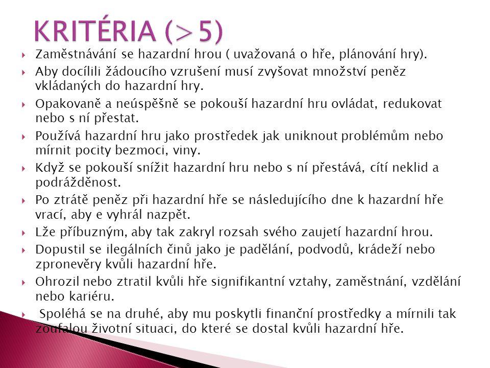KRITÉRIA (>5) Zaměstnávání se hazardní hrou ( uvažovaná o hře, plánování hry).