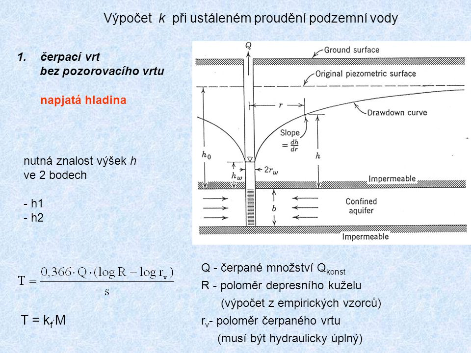 Výpočet k při ustáleném proudění podzemní vody