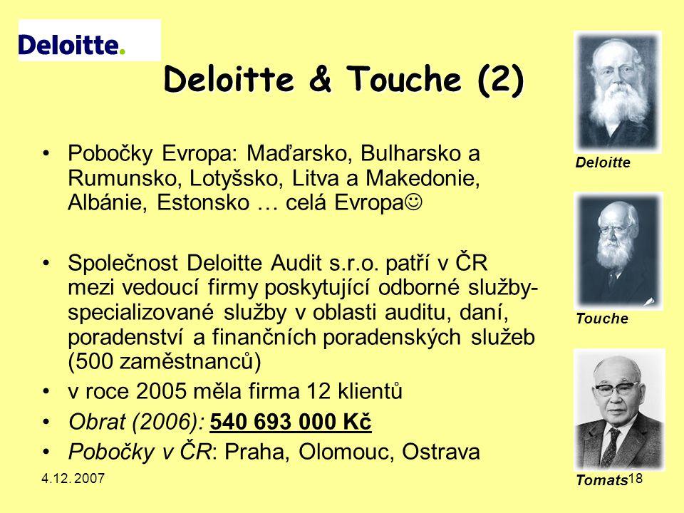 Deloitte & Touche (2) Pobočky Evropa: Maďarsko, Bulharsko a Rumunsko, Lotyšsko, Litva a Makedonie, Albánie, Estonsko … celá Evropa