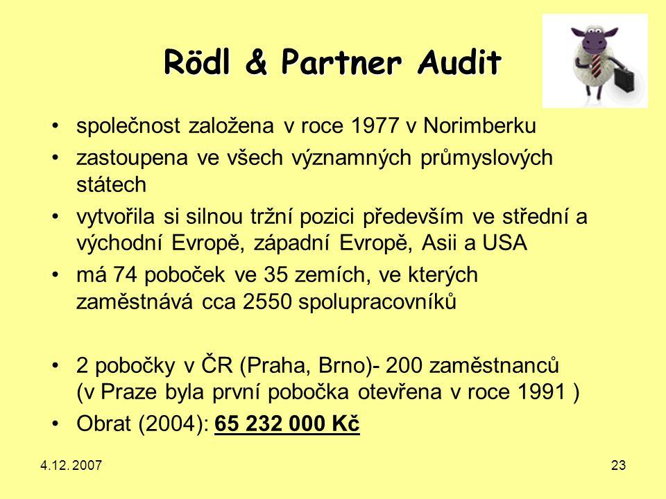 Rödl & Partner Audit společnost založena v roce 1977 v Norimberku