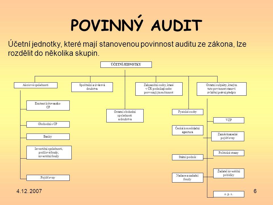 POVINNÝ AUDIT Účetní jednotky, které mají stanovenou povinnost auditu ze zákona, lze rozdělit do několika skupin.