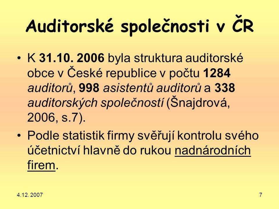 Auditorské společnosti v ČR