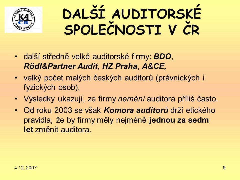 DALŠÍ AUDITORSKÉ SPOLEČNOSTI V ČR