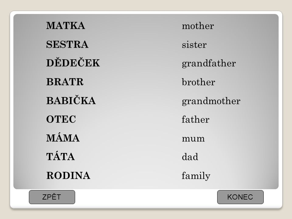 MATKA SESTRA DĚDEČEK BRATR BABIČKA OTEC MÁMA TÁTA RODINA mother sister