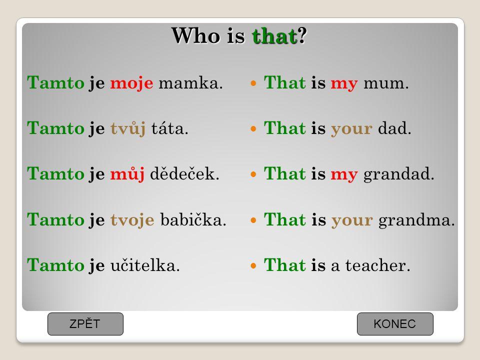 Who is that Tamto je moje mamka. Tamto je tvůj táta. Tamto je můj dědeček. Tamto je tvoje babička. Tamto je učitelka.